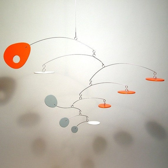 Modern Orange Grey White Best Baby Mobile art sculpture Eliptusmobius Small Nursery Decor 20w x 13h