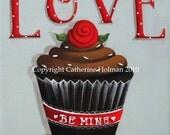 Valentine Cupcake Print Love