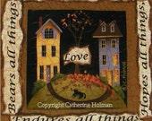 Folk Art Print Love Bears All Things
