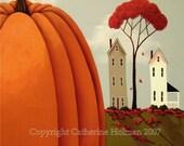 Autumn Folk Art Print Pumpkin Valley