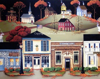 Folk Art print Hometown America