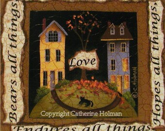 Folk Art Print Love Bears All Things