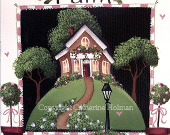 Folk  Art Print Faith Cottage