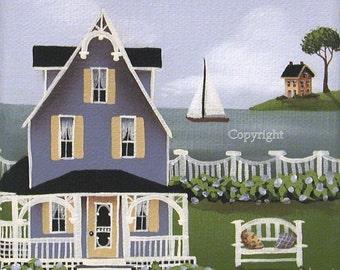 Folk Art Print Hydrangea Cove