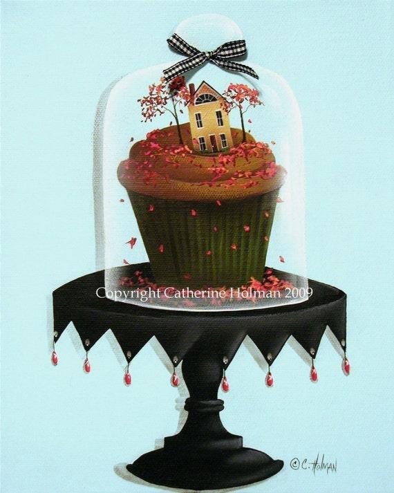 Cupcake Print Autumn Spice Folk Art