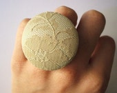 Leather and lace ring