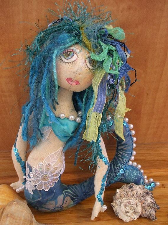 Primitive Folk Art Mermaid Art Doll
