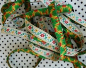floral fabric ribbon tape yellow red