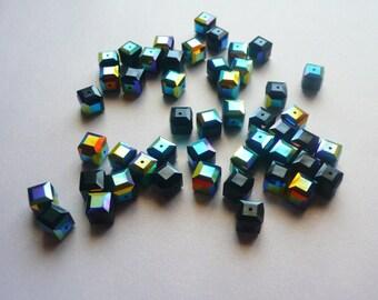 Ten 8mm Swarovski Crystal Cubes in Jet AB
