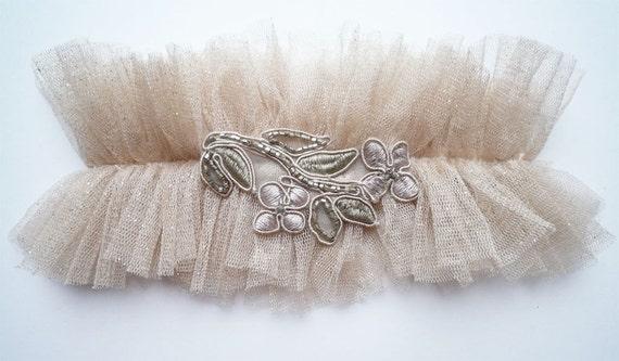 glitterati silk tulle garter nude shimmer rose gold garter embroidered beaded garter vintage style heirloom garter