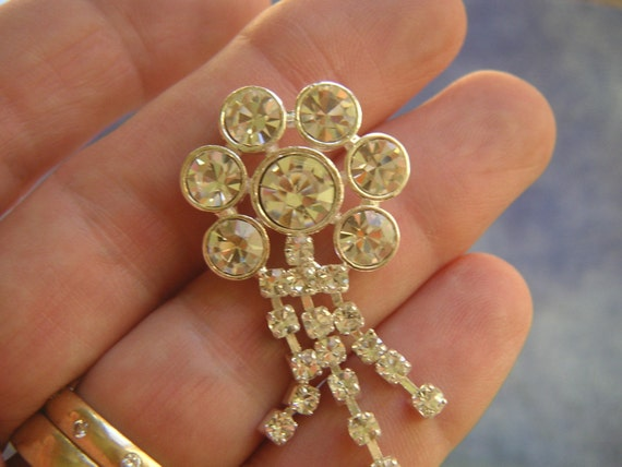 LARGE FANCY SILVER METAL SPARKLY RHINESTONE BUTTON, 1 INCH