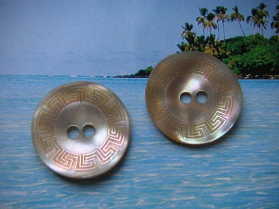Lovely Etched Mother Of Pearl Buttons, 3/4""
