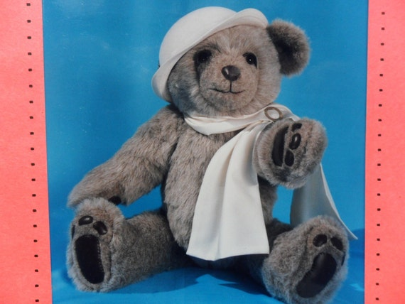 Large 25 Inch Fully Jointed Plush Bear Pattern With A Scarf, VINTAGE