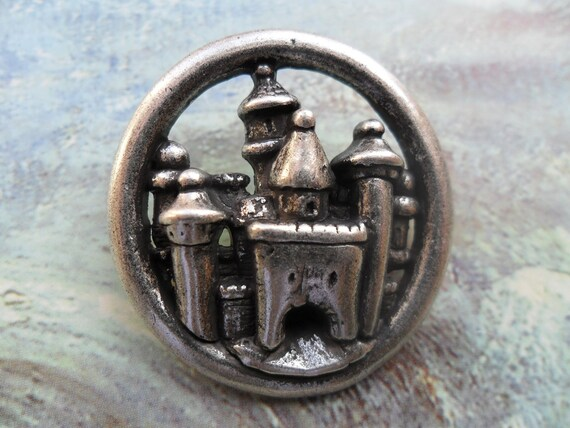 Castle Button, Extra Large Silver Metal Button, Steampunk, 1 3/8 Inch, Great Purse Closure, Goth