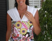 Baby Wrap Sling Carrier-ORGANIC COTTON Baby Wrap-Funky Flowers-Newborn to Toddler Carrie-DvD Included