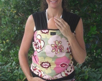 ORGANIC COTTON Baby Wrap/Sling Carrier-Pink Sage Kleo on Black- One Size Fits All-Newborn To Toddler-DvD Included