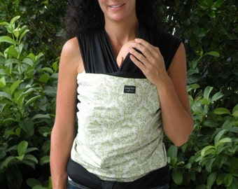 ORGANIC Cotton Baby Wrap/Sling Carrier- Green Damask on Black-Newborn through Toddler- DvD Included