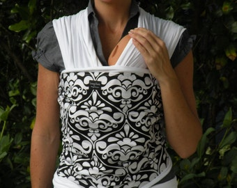 ORGANIC COTTON Baby Wrap Sling Carrier-White Damask on White-DvD Included-One Size Fits All