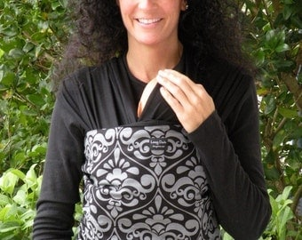 Baby Wrap Carrier-Baby Sling-ORGANIC COTTON-Gray Damask-Newborn to Toddler-DVD Included