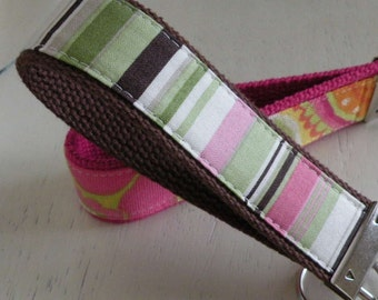 READY TO SHIP-Beautiful Key Fob/Keychain/Wristlet-Pink and Brown Stripes