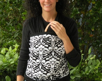 SUPER LIGHTWEIGHT Organic Bamboo Baby Wrap Sling Carrier-White Damask on Black-DvD Included-One Size Fits All