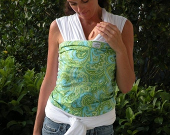 ORGANIC COTTON Baby Wrap Sling Carrier -Green/Blue Paisley On White-Newborn to Toddler Carrie-DvD Included