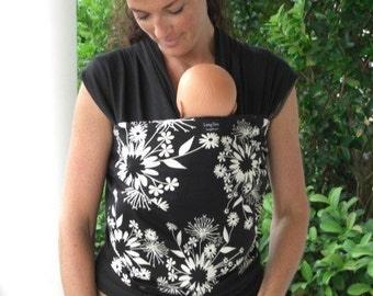 Baby Sling Wrap Carrier-ORGANIC COTTON-Midnight Kiss-Newborn through Toddler-DvD Included-One Size Fits All