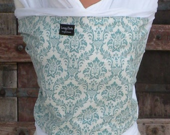 ORGANIC Cotton Baby Wrap/Sling Carrier-Teal Damask on White  -DVD Included-Newborn to Toddler