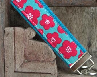 READY TO SHIP-Beautiful Key Fob/Keychain/Wristlet-Blossoms on Turq