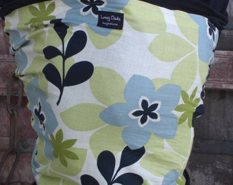 ORGANIC Cotton Baby Wrap-Floral-Blue on Black-DvD included-One Size Fits All