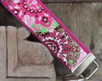 READY TO SHIP-Beautiful Key Fob/Keychain/Wristlet-Pink Paisley on Pink