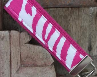 READY TO SHIP-Beautiful Key Fob/Keychain/Wristlet-Pink Zebra on Pink
