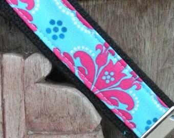 Fabric Keychain- Key Fob/Keychain/Wristlet-Cotton Candy on Black-READY TO SHIP