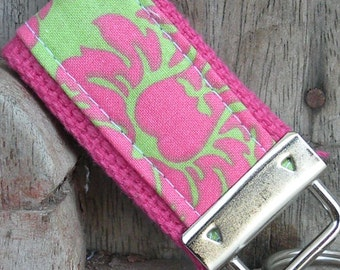 READY To Ship-MINI-MINI Keychain-Pink and Green Damask On Hot Pink