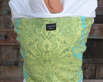 ORGANIC COTTON Baby Wrap-Green/Turq Swirl On White-DVD Included-One Size Fits All
