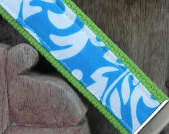 READY TO SHIP-Beautiful Key Fob/Keychain/Wristlet-Turq Damask on Lime