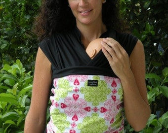 ORGANIC COTTON Baby Wrap Sling Carrier-The Original Tie One On Baby Wrap/Sling Carrier-Gothic Pink-Newborn through Toddler-DvD Included