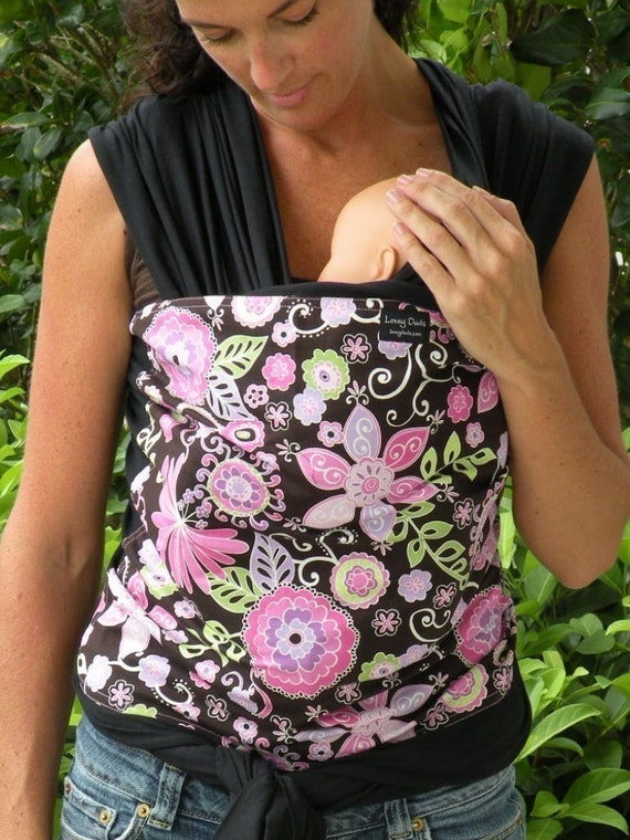 ORGANIC BAMBOO Baby Wrap/Sling Carrier-Purple Orchid On Black -Newborn through Toddler-DvD Included-Super Lightweight
