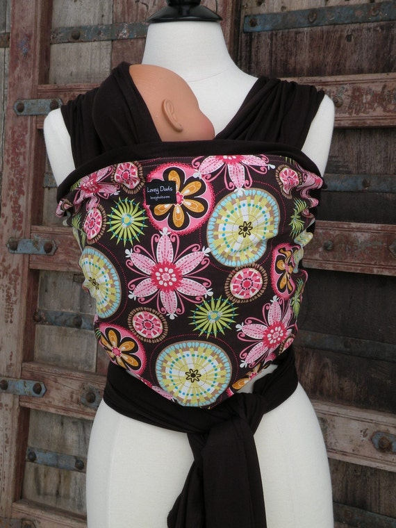SUPER Lightweight-ORGANIC BAMBOO Baby Wrap Sling Carrier-Carnival on Brown-DvD Included-Our Carriers Are One Size Fits All