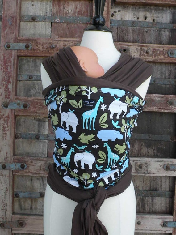 Reserved Listing For Sarah-.Baby Sling WRap Carrier-ORGANIC Bamboo Baby Wrap Sling Carrier-Zoology-DVD Included-One Size Fits All