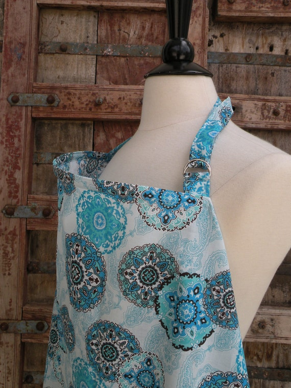 Beautiful Nursing Cover-Blue Paisley-Free Shipping When Purchased With A Wrap