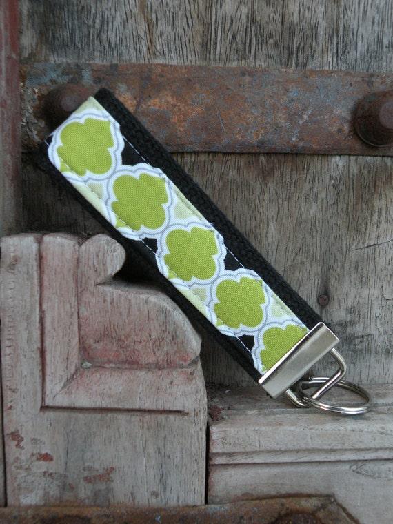 READY TO SHIP-Beautiful Key Fob/Keychain/Wristlet-Lime On Black