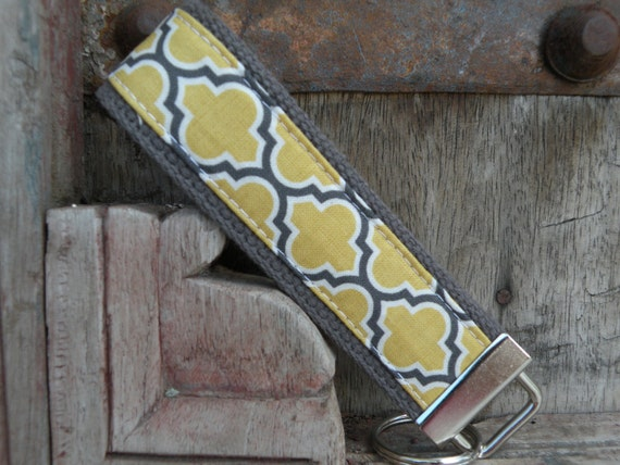 READY TO SHIP-Beautiful Key Fob/Keychain/Wristlet-Lattice on Gray