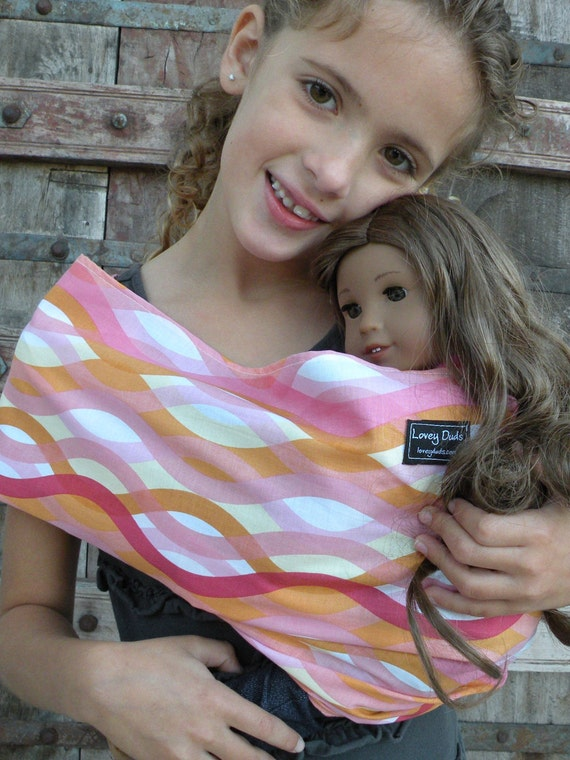 READY TO SHIP-Just Like Mommy Baby Doll Sling- Sherbert Waves-Perfect For American Girl Dolls-Free Shipping When Purchased With a Wrap