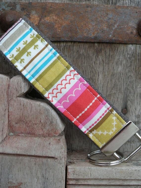 READY TO SHIP-Beautiful Key Fob/Keychain/Wristlet-Stripe On Gray
