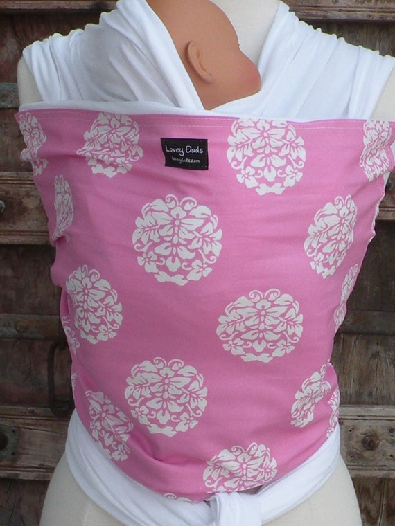 ORGANIC COTTON Baby Wrap Sling Carrier-Bubblegum Pink-Blooms on White-DVD Included-One Size Fits All-Newborn -Toddler