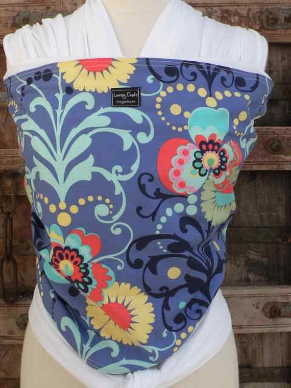 Baby  Sling Wrap ORGANIC COTTON Baby Wrap- Sling Carrier-Paradise on White-DVD Included-One Size Fits All-Newborn -Toddler