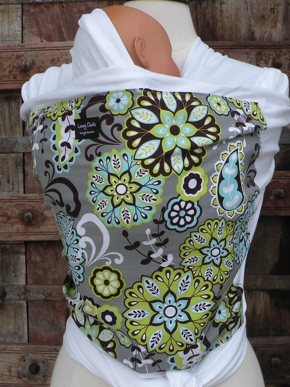 ORGANIC COTTON Baby Wrap-Sling Carrier- Hands-Free Carrier-Floral-Our Wraps Are One Size Fits All-DvD Included