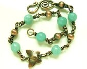 Amazonite and Antiqued Copper Butterfly bracelet