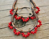 Red Ruffle Bottom Hoops - wire wrapped antiqued copper cuties - seed beaded hoop earrings